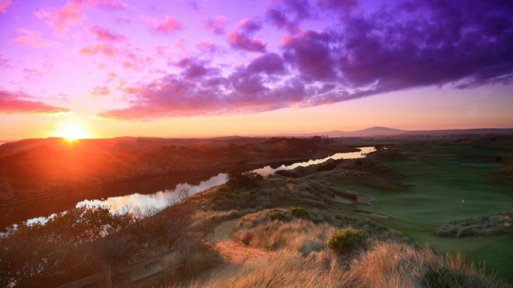 Sunset over the golf course at Barnbougle Dunes Golf Links, TAS