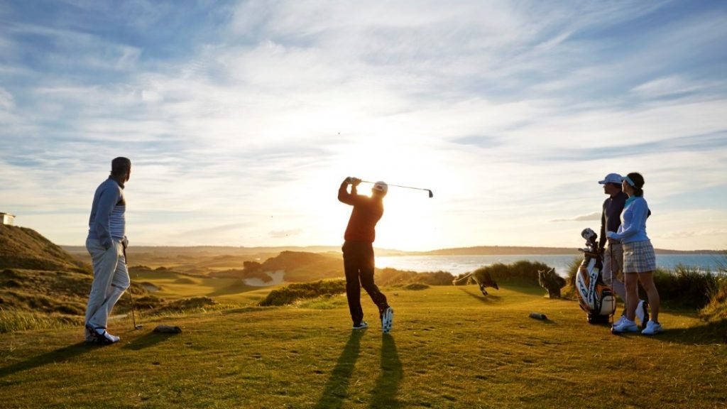 Group of golfers at Barnbougle Lost Farm Golf Course