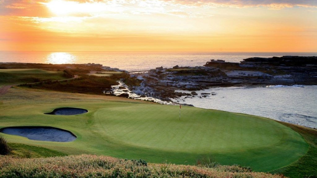 Sunset over the ocean and the green at NSW Golf Course, Sydney, NSW
