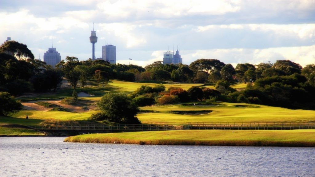 View of Sydney city from The Lakes Golf Club