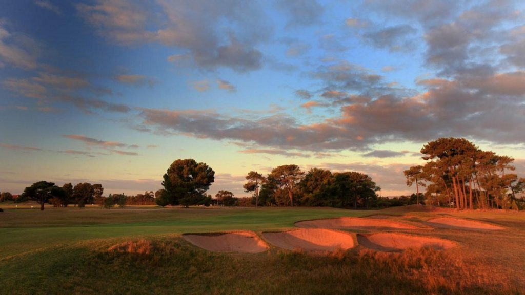 A sunset view of bunkers at The Royal Adelaide Golf Club, Adelaide, SA