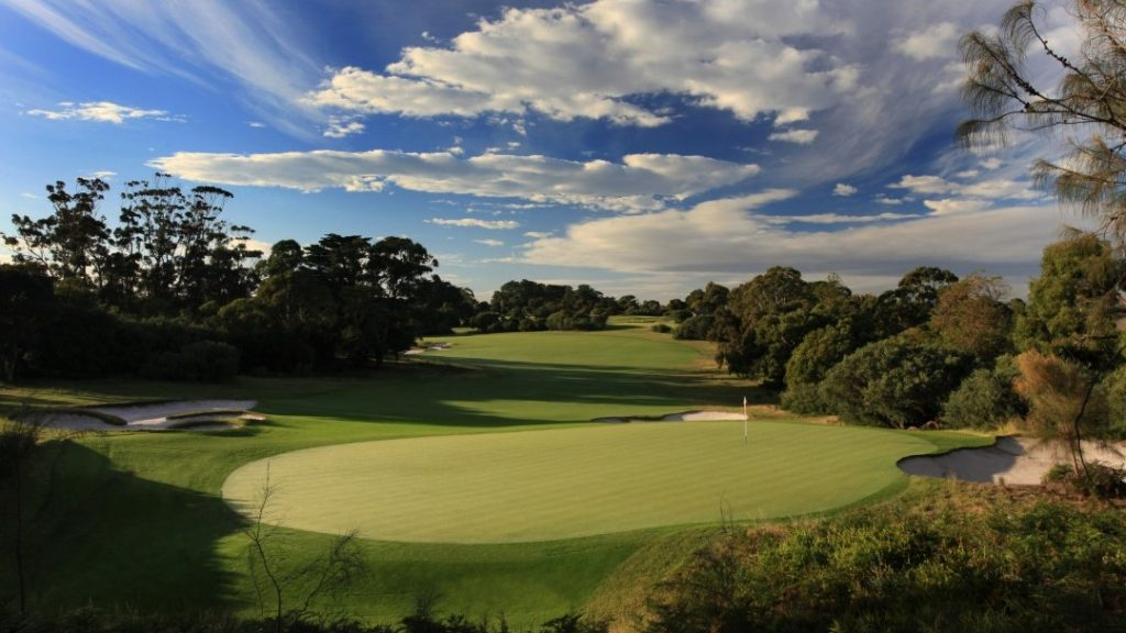 Aerial view of the green at The Royal Melbourne Golf Course, Melbourne, VIC