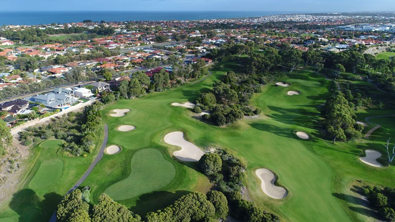 Joondalup Aerial View of golf course Dunes